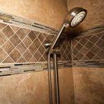 Travertine Slab on Shower Walls