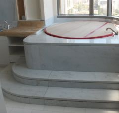 """Jacuzzi Tub Surround and Round Steps with 1/2"""" reveal, by Carpet Floor & More"""