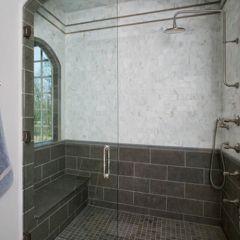 Nova Blue Limestone Floor & Wall, Calacata Marble Mosaic Wall