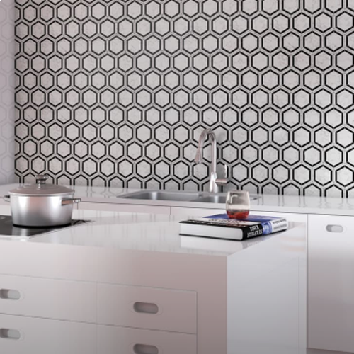 Carrara White Mosaic Basketweave
